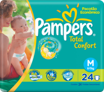 Fralda Pampers Total Confort (P-28 |M-24 | G-20 | XG-18)